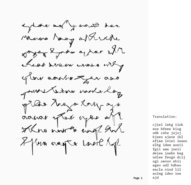 generative manuscript page 1 with translation